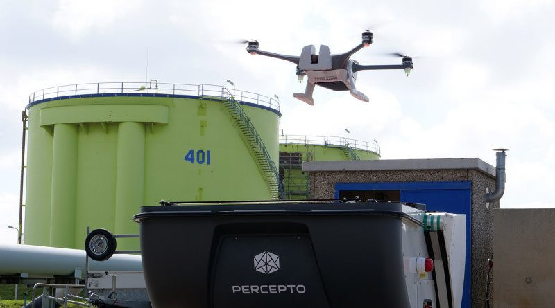 Percepto's drone-in-a-box technology at Rotterdam Oil Terminal. (Photo: Dronewatch)