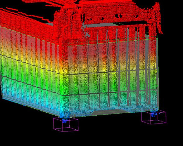 3D point cloud with detected cones and virtual cube