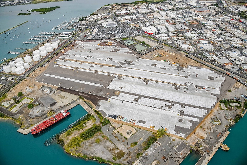 The new yard area is for the Kapalama container terminal is now partially completed.