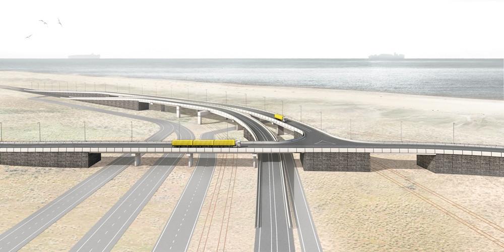 This Port of Rotterdam authority graphic shows 6 TEU/3 FEU autonomous truck trains