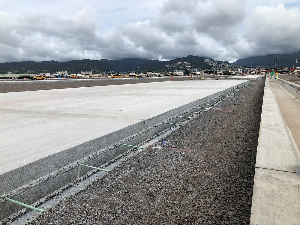 The container yard features poured concrete surfaces. (Photos courtesy HDOT)