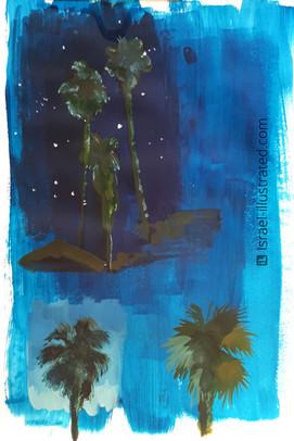 Palm Trees Gouache Study