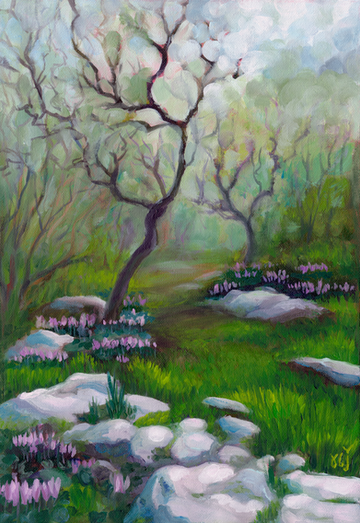Winter Oaks and Cyclamens