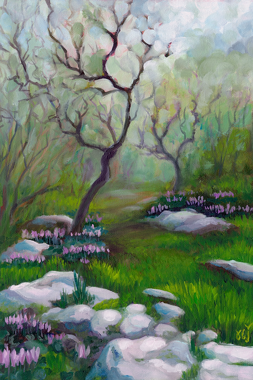 Winter Oaks and Cyclamens Oil Painting