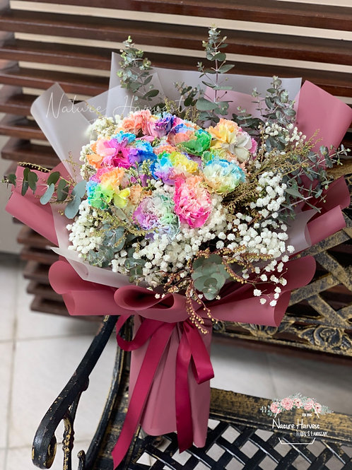 Rainbow carnation bouquet 02540