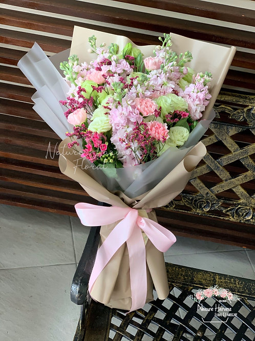 Pink carnation and eustoma bouquet 02538
