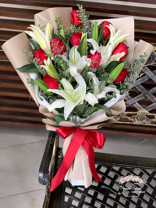 White lily and red roses bouquet 02546