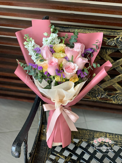 Pink rose bouquet 02545