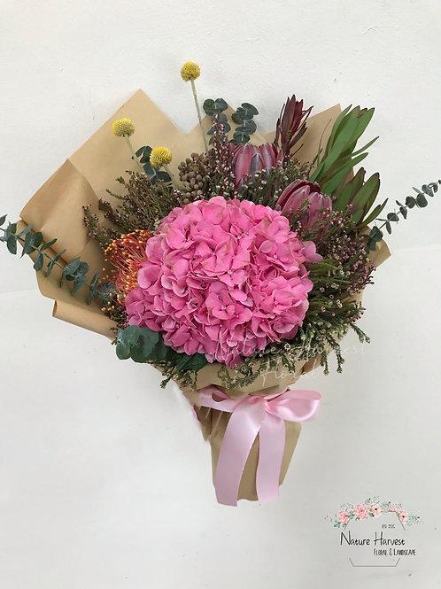 Dark pink hydrangeas bouquet 02531