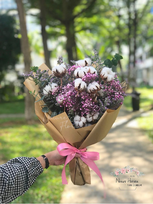 Cotton flower with pink baby's breath bouquet 02533