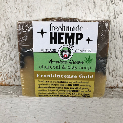 Hemp Charcoal and Clay Soap Frankincense Gold