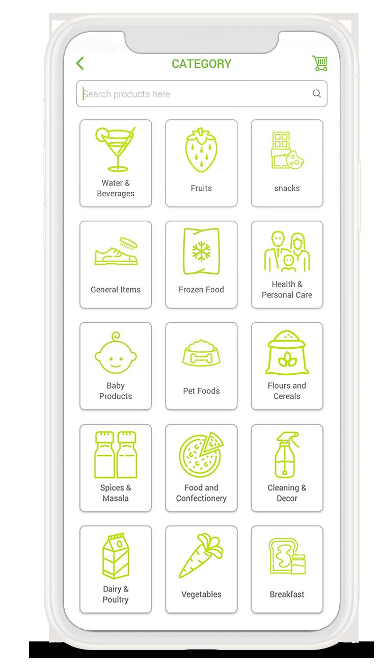 Baqaala-online grocery app categories