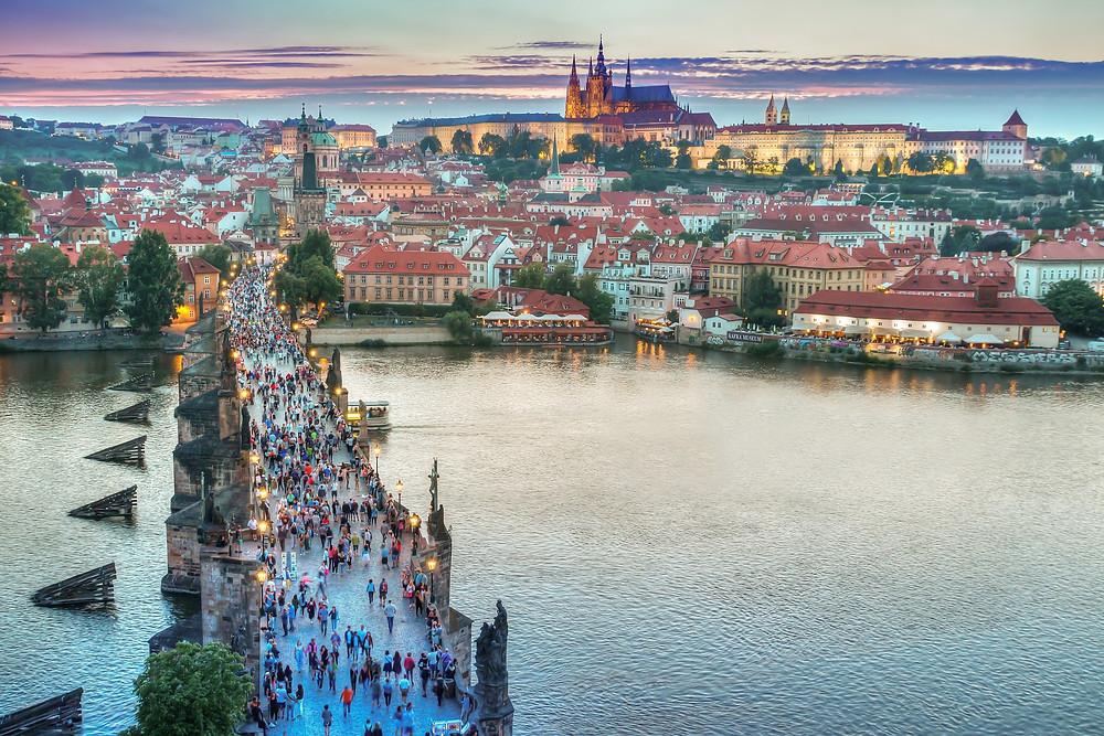 Crowds of tourists on the Charles Bridge, Prague, Czech Republic