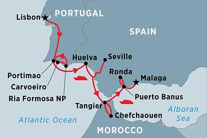 Spain, Portugal, Morocco