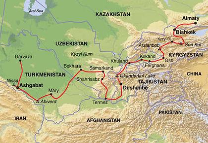 Turkmenistan, Uzbekistan, Tajikistan, Kyrgyzstan, Kazakhstan