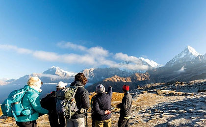 This trek through the Annapurna and Dhaulagiri ranges will take you through villages, rice paddies and moss-covered Rhododendron forests, to Kopra Ridge with glorious views of Dhaulagiri and Kali Gandaki, the world's deepest gorge.  From here ancient pilgrim trails lead to the sacred Khayer Lake, high up in the mountains.  This trek takes you away from the crowds on little-hiked trails.