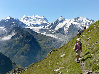 Our Haute Route passes beneath 10 or the 12 highest mountains in the Alps, from Mont Blanc near Chamonix in France to Matterhorn near Zermatt in Switzerland.  Spectacular mountain views, stunning valleys and pretty glacial lakes are all around on this fantastic trek through the Alps.