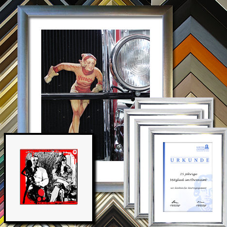 Aluminiumrahmen, Alurahmen, Bilderrahmen für Urkunden, Zertifikate, 3-D Rahmen, Trikotrahmen