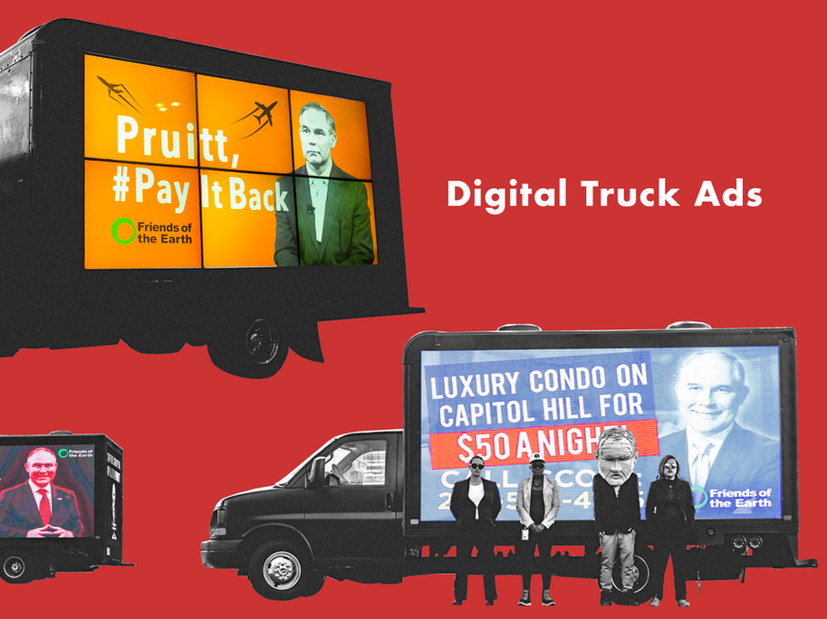 Three of the digital truck ads we used to target Pruitt.
