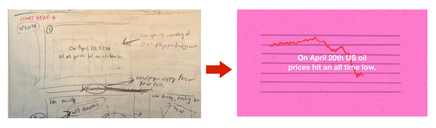 (left) An initial sketch of the video ftame and (right) the final version in the video.