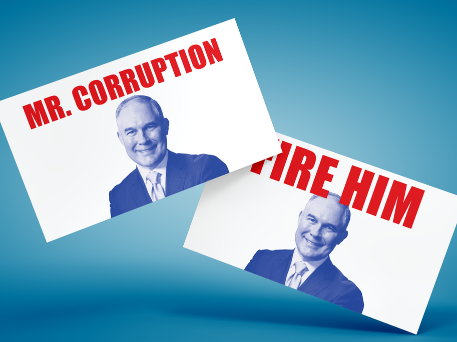 Posters used at Pruitt's ethics hearings