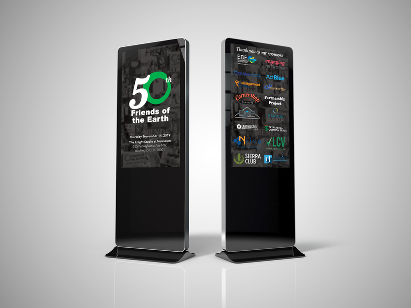Mock up of digital signage used in in entranceway