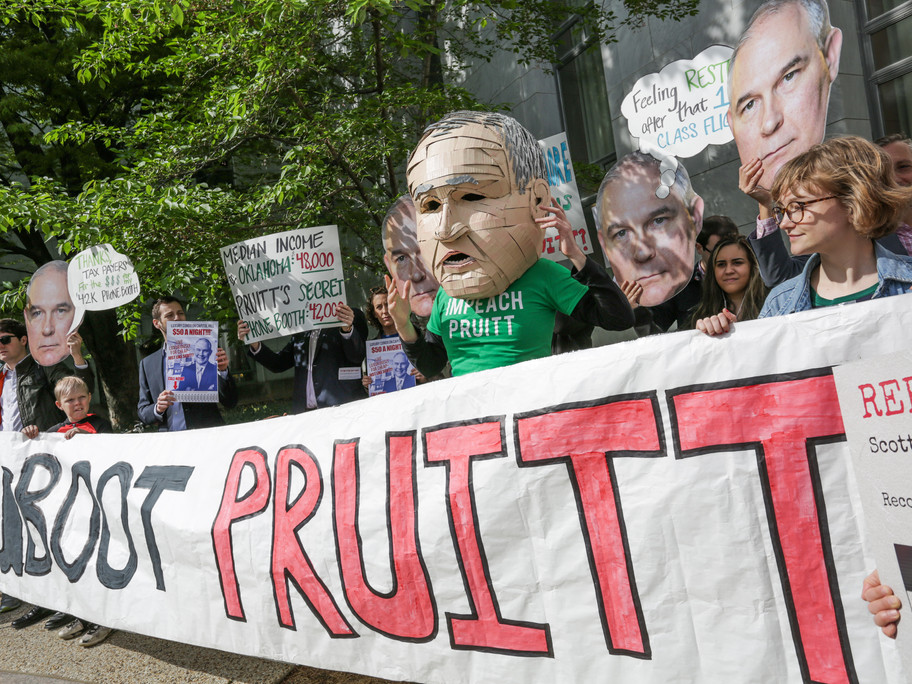 Enviro groups gathered outside of Scott Pruitt's ethics building.