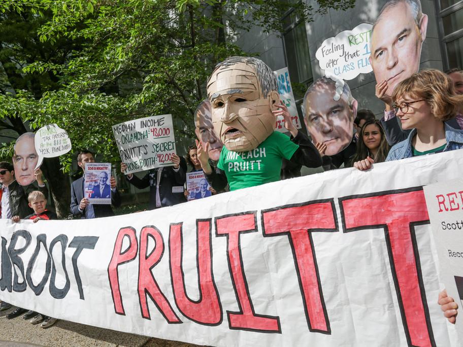 Enviro groups gathered outside of Scott Pruitt's ethics building.