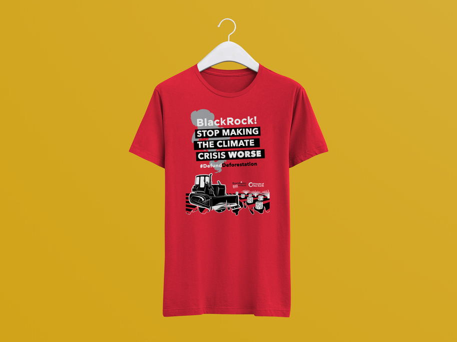T-shirt mockup with the redesigned palm oil and tractor image.