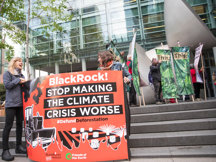 Activists outside BlackRock headquarters in downtown San Francisco.