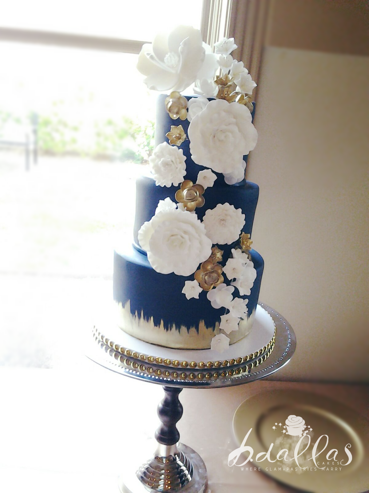 NAVY BLUE & GOLD WEDDING CAKE