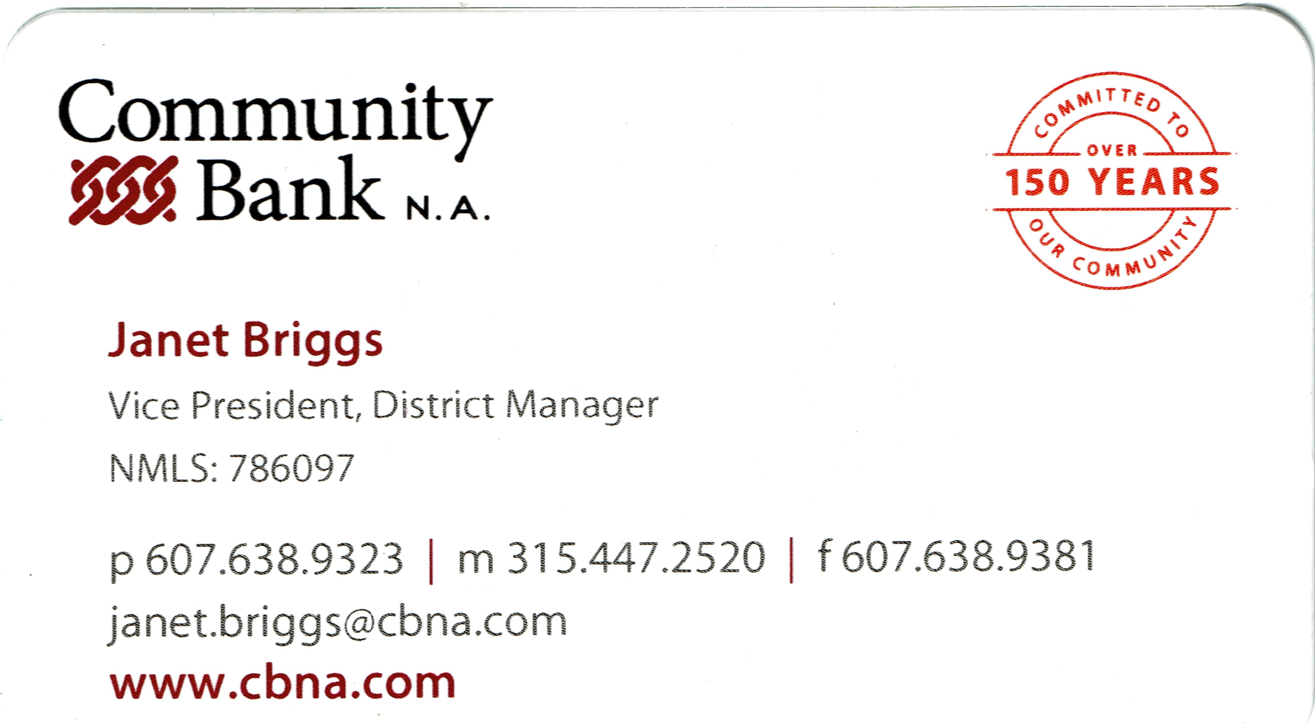 Community Bank Janet Briggs