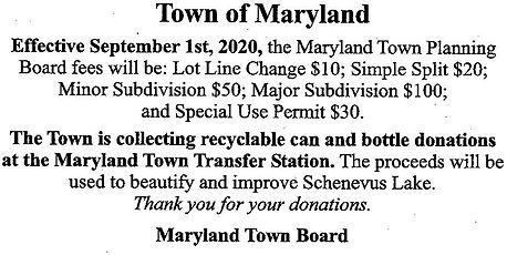 Town of Maryland  planning board fee not