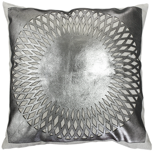 Baltimore Silver Leather Cushion Cover