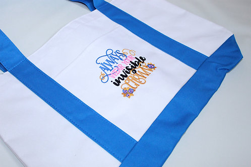 "Embroidered Tote ""Always wear your invisible crown"""