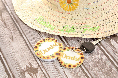 Car Coaster and Keychain set