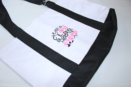 """Embroidered Tote """"Just a girl building her empire"""""""