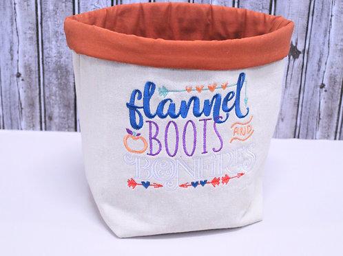 Flannel Boots & Bonfires fabric basket