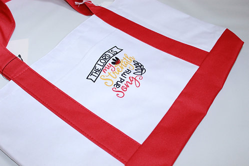 """Embroidered Tote """"The Lord is my strength and my song"""""""