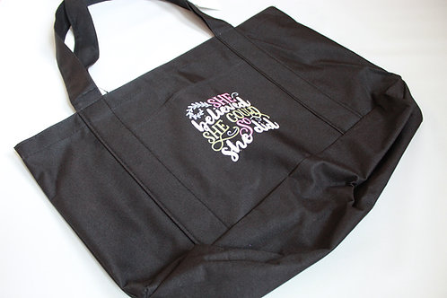 "Embroidered Tote ""She believed she could so she did"""