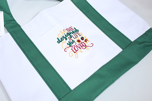 """Embroidered Tote """"She designed a life she loved"""""""