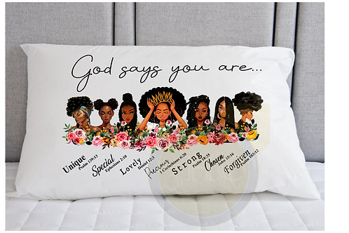 Throw Pillow (God says you are...)