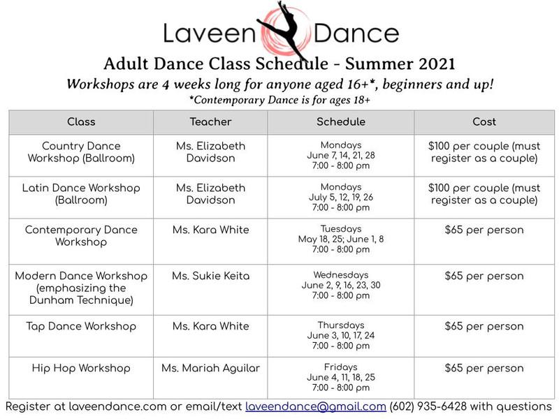 Adult Dance Class Schedule