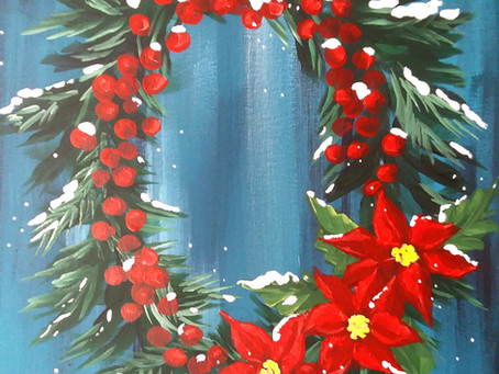 Winter Wreath Painting - Free Supply List and Tracer