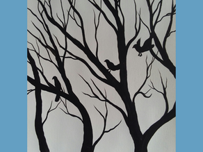 Black & White Painting Tutorial Tree & Crows