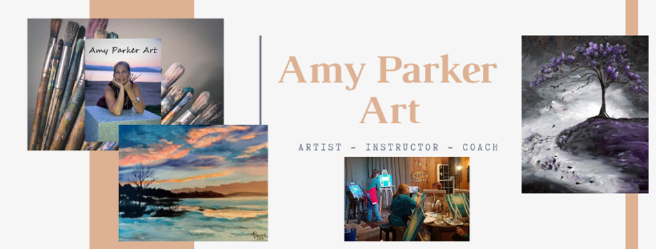 amy parker art headder. Artwork examples, profile pic with paintbrushes & instructional painting with class
