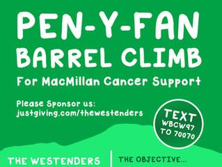Westenders Sponsored Pen-y-Van Barrel Climb for MacMillan Cancer Support