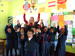 Volunteer from Canada after teach english to the children at the public school