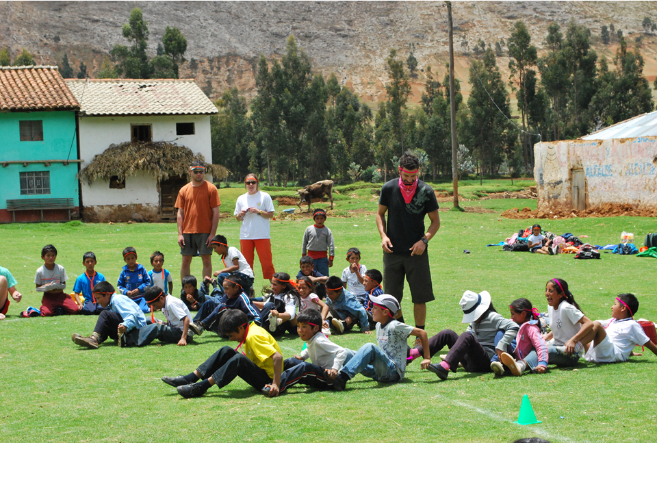a big competition, nice day for sports, every volunteer have a children group