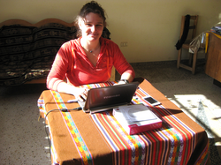 Sophi from CANADA preparing lessons for the children